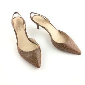 Talbots Brown Leather Slingback Kitten Heels